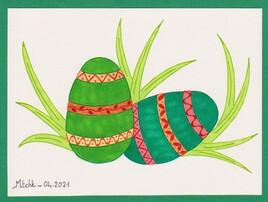 La chasse aux oeufs de Pâques (version verte)
