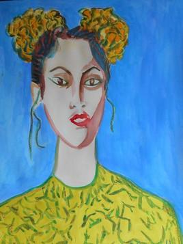 Jeune femme au corsage jaune .