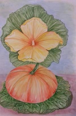 La citrouille et sa fleur (Aquarelle 50)