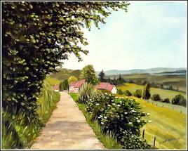 village de châtellenot en bourgogne ( toile peinte ce matin de 8h à 12h30