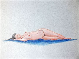 Femme nue allongée endormie 3/3 Cécile / Drawing A sleep lenghtened woman 3/3