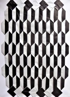 tableau géométrique en noir et blanc