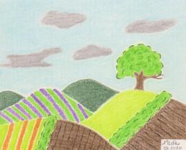 Paysage à l'arbre solitaire