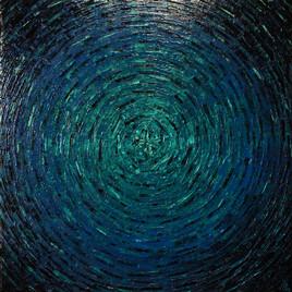 Peinture au couteau : Éclat de couleur bleuté.