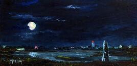 Léchiagat clair de lune sur le menhir du Léhan