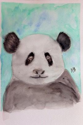 Panda - Aquarelle sur papier format 16x24cm