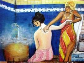 Elkhalwa ou bain de la mariée huile sur toile 80 sur 60cm