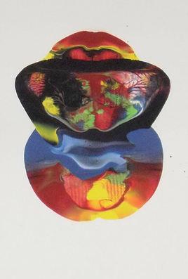LangdonArt LuneJaune peinture acrylique sur papier vue A sur 4 vues