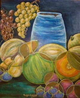 Jarre bleue aux fruits