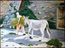 """""""Scène de vie"""" huile 79X59"""