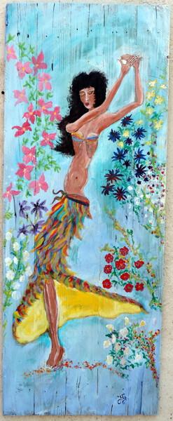 Danseuse aux fleurs peinture sur bois de palette 130 X 60 Jf Gantner