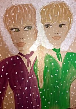 Les soeurs jumelles de l'hiver (feutres et acrylique)
