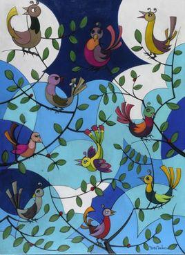 Peinture Les oiseaux par YVES DUBOS