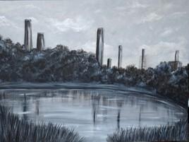 Lac et cheminées