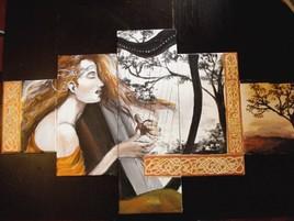 une harpiste aux cheveux d'automne