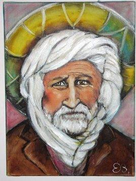 L'homme à la médala ou au chapeau de paille.huile sur toile 30 sur 40