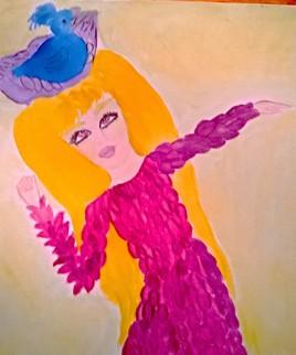 Plume et l'oiseau bleu (aquarelle)