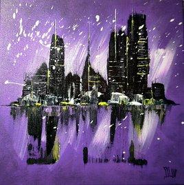 Purple abstract skyline