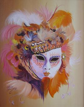 Venise, masques et plumes (50cm x 40cm)