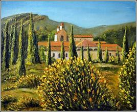"""l'abbaye de Fontfroide à Narbonne """"peint sur le motif"""""""