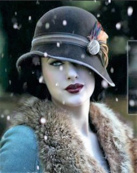 Lady vintage with snow