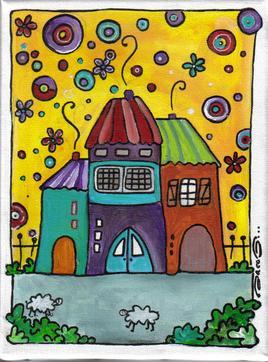 Maisons sur fond jaune