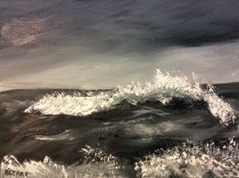 Mer agitée, nuances de gris.