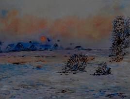 Soleil d'hiver à Lavacourt (d 'après Claude Monet)