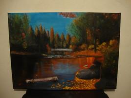 peinture tableau paysage d'automne
