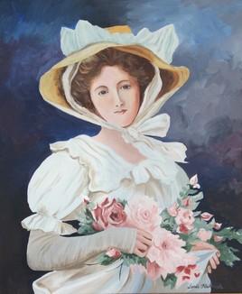 Élégante au bouquet de roses