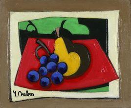Peinture Raisins et poire par YVES DUBOS