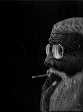 Old man - dark mono