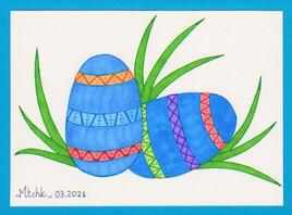 La chasse aux oeufs de Pâques (version bleue)