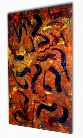 Peinture abstraite sur plexiglas 53px signe albert derriennic