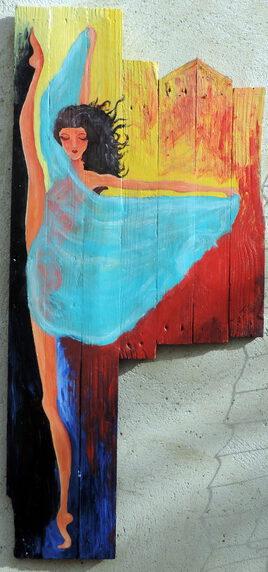 danseuse au voile peinture sur bois de palette 120 X 60 Jf Gantner
