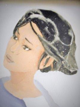 portrait femme bleue