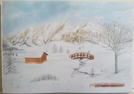 L'hiver  crayons de couleurs