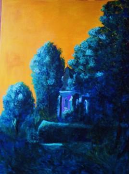 Petite église de Courtaoult....Mes pinceaux à la main...En passant...Yellow and blue
