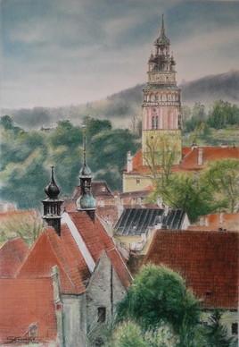 Une vue Cesky Krumlov, Rép. Tchèque