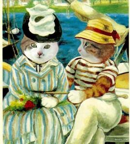 revisite d'une peinture de Manet avec Grisou et Mioumiou :)