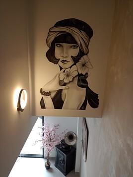 peinture aérographe 70cmx100cm haut de cage d'escalier
