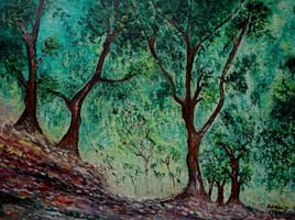 Bois d'oliviers dans le jardin Moreno (d'après Claude Monet)