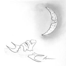 Face masquée de la lune.