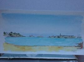 Saint Malo vu de la plage du Prieuré à Dinard