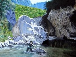 pecheur de truites dans les gorges du Verdon ( Alpes de Hautes provence )