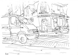 Paris, coin de rue, fourgon