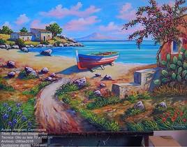 bateau avec bougainvilliers