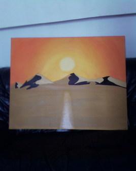 coucher de soleil en desert