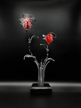 Bouquet lumineux de roses éternelles rouge