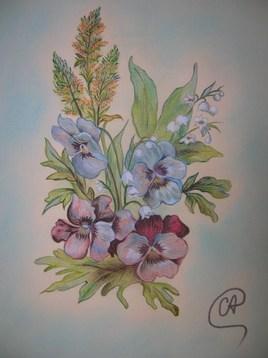 Pensées - Fleurs au pastel